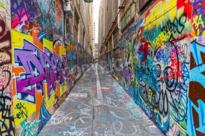 Poster MELBOURNE, AUSTRALIA - MARCH 16, 2015: Colorful graffiti in narrow alley of downtown.