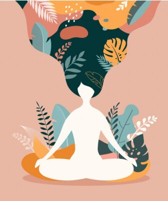 Poster Mindfulness, meditation and yoga background in pastel vintage colors - women sitting with crossed legs and meditating.