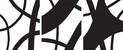 Poster minimalist Organic abstract art mid century modern style black and white artwork templates vector set