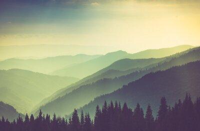 Poster Misty summer mountain hills landscape.