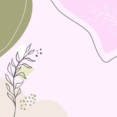 Poster Modern abstract floral art vector leaves background.