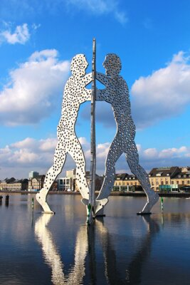 Poster Molecule Man sculpture on the Spree river in Berlin