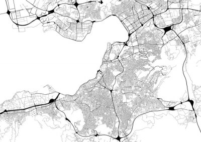 Poster Monochrome city map with road network of Izmir