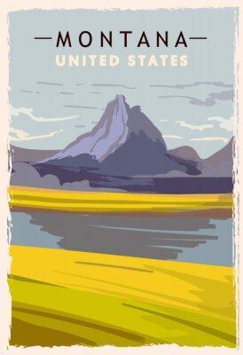 Poster Montana retro poster. USA Montana travel illustration. United States of America greeting card. vector illustration.