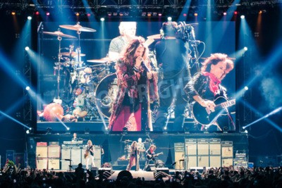 Poster MOSCOW, RUSSIA - MAY 24, 2014 - Amerocan rock band Aerosmith performs at Olimpiysky on May 24, 2014 in Moscow