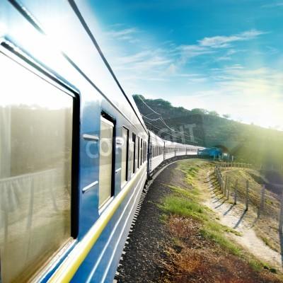 Poster Motion train and blue wagon. Urban transportation