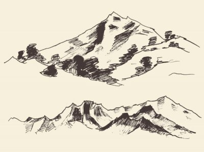 Poster Mountains contours of the mountains engraving vector illustration hand drawn sketch