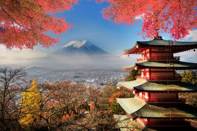 Poster Mt. Fuji with fall colors in Japan.
