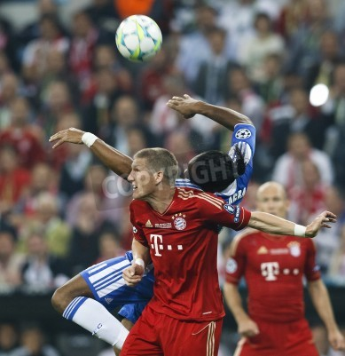 Poster MUNICH, May 19 - Drogba of Chelsea (R) and Schweinsteiger of Bayern during FC Bayern Munich vs. Chelsea FC UEFA Champions League Final game at Allianz Arena on May 19, 2012 in Munich, Germany.