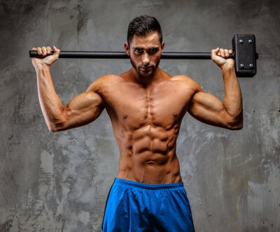Poster Muscular guy in blue shorts