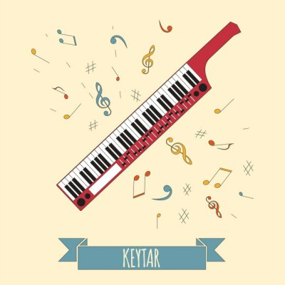 Poster Musical instruments graphic template. Keytar.