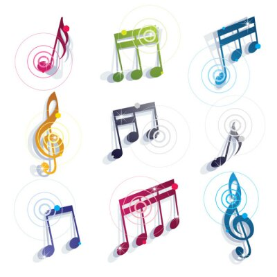 Poster Musical notes icons set.