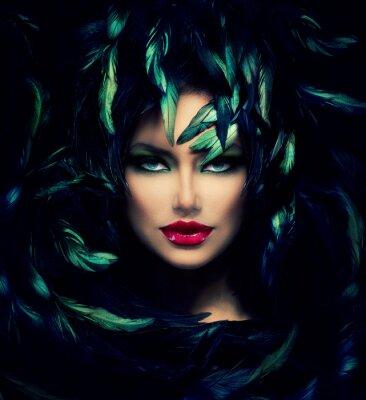 Poster Mysterious Woman Portrait. Beautiful Model Woman Face Closeup