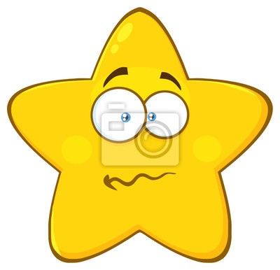 Poster: Nervous yellow star cartoon emoji face character with confused