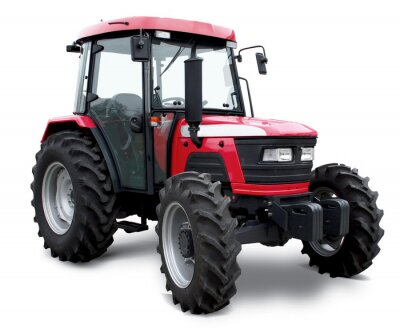 Poster New red tractor isolated on white background