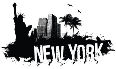 Poster New York Banners black