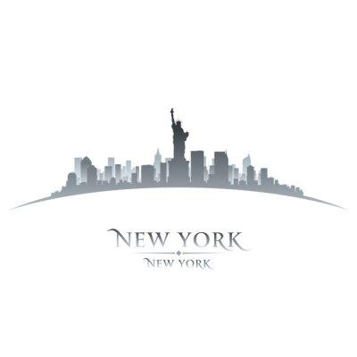 Poster New York city skyline silhouette white background