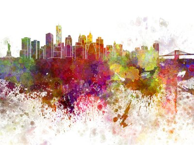 Poster New York skyline v2 in watercolor background