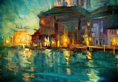Poster night landscape to venice, painting by oil on plywood, illustrat