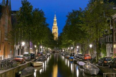 Poster Night view of Zuiderkerk in Amsterdam