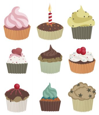 Poster Nine cupcakes. Vector illustration of nine delicious cupcakes.