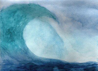 Poster Ocean wave in watercolor