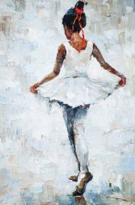 Poster oil painting, girl ballerina. drawn cute ballerina dancing