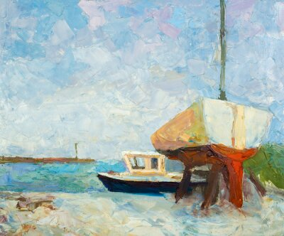 Poster Oil painting on canvas. Yacht and ship