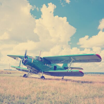 Poster old airplane on green grass