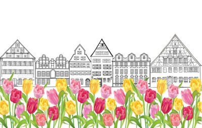 Poster Old buildings and houses in Amsterdam  with flower tulips alley.