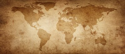 Poster Old map of the world on a old parchment background. Vintage style. Elements of this Image Furnished by NASA.
