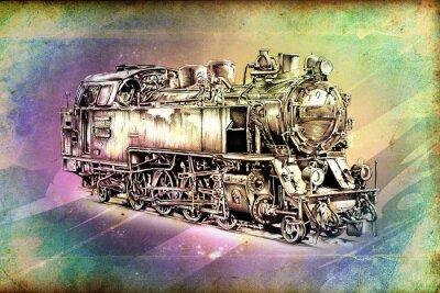 Poster old steam locomotive engine retro vintage