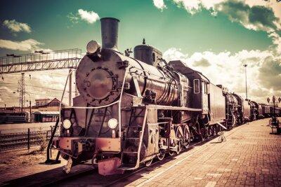 Poster Old steam locomotive, vintage train.
