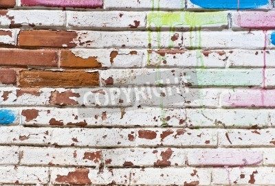 Poster Old wall fill of graffiti