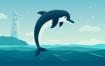 Poster One jumping dolphin, blue sea background with waves and lighthouse. Vector Illustration