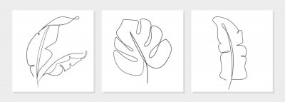 Poster One line drawing vector monstera leaf and banana tree leaves. Modern single line art, aesthetic contour. Perfect for home decor such as posters, wall art, tote bag, t-shirt print, sticker, mobile case