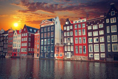 Poster one of the most famous European city of Amsterdam. The capital o