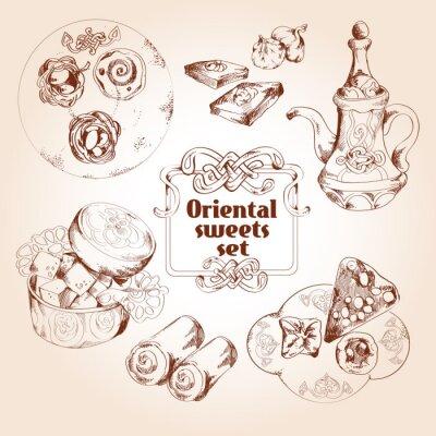 Poster Oriental sweets sketch set