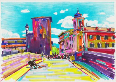 Poster original marker painting of Rome Italy cityscape