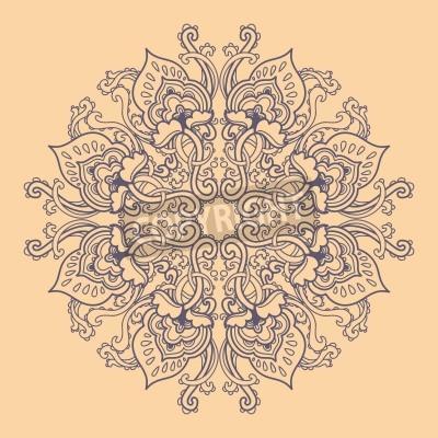 Poster Ornamental round floral lace pattern. kaleidoscopic floral pattern, mandala.