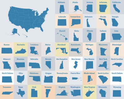 Poster Outline map of the United States of America. States of the USA. Vector.