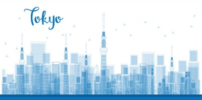 Poster Outline Tokyo City Skyscrapers in blue color.