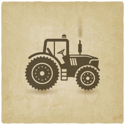 Poster oval label with the landscape. tractor in field