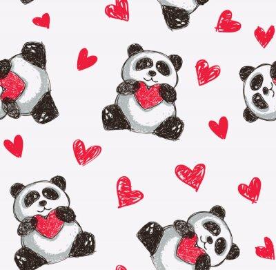 Poster panda holding heart seamless background
