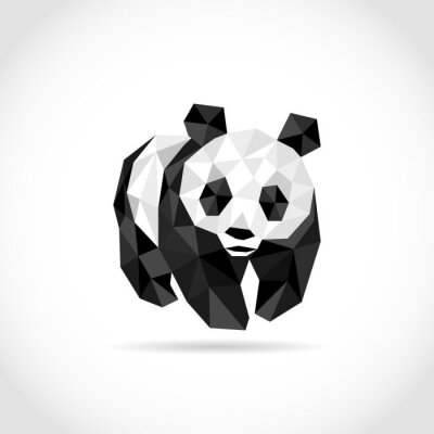Poster panda in Polygon style. low poly design in triangles