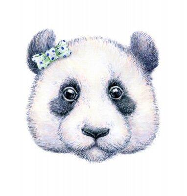 Poster Panda on white background. Watercolor drawing. Children's illustration. Handwork