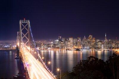 Poster Panorama di San Francisco e Bay Bridge di notte
