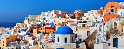 Poster Panorama of famous greece city Oia. Santorini island