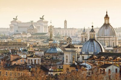 Poster Panorama of old town in Rome, Italy