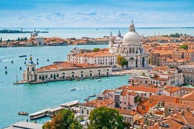 Poster Panoramic aerial cityscape of Venice with Santa Maria della Salute church, Veneto, Italy